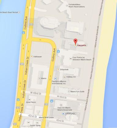 miami beach cecconi's map collins avenue