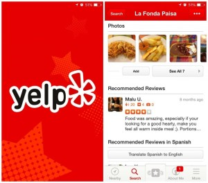 yelp travel app restaurant