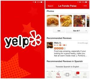 yelp travel app restaurant