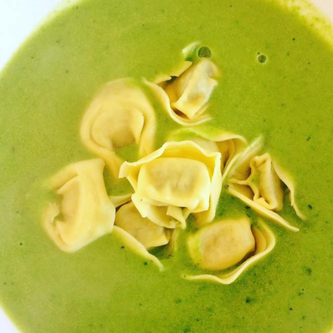pea and mint soup with tortellini